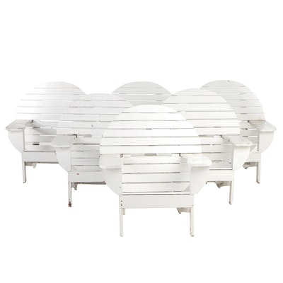 Painted Round Back Adirondack Style Arm Chairs, Contemporary