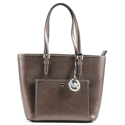 MICHAEL Michael Kors Jet Set Bronze Metallic Saffiano Leather Tote