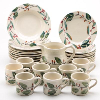 "Hartstone ""Mistletoe"" Stoneware Dinnerware, Late 20th Century"