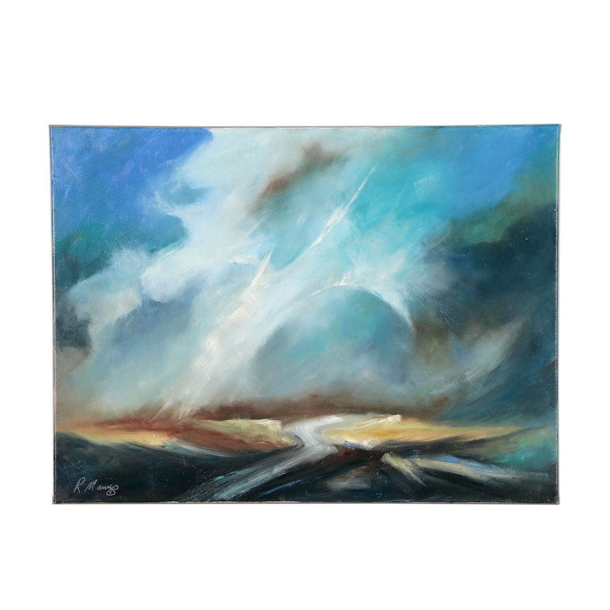 """Rebecca Manns Abstract Oil Painting """"God is Watching Us"""""""