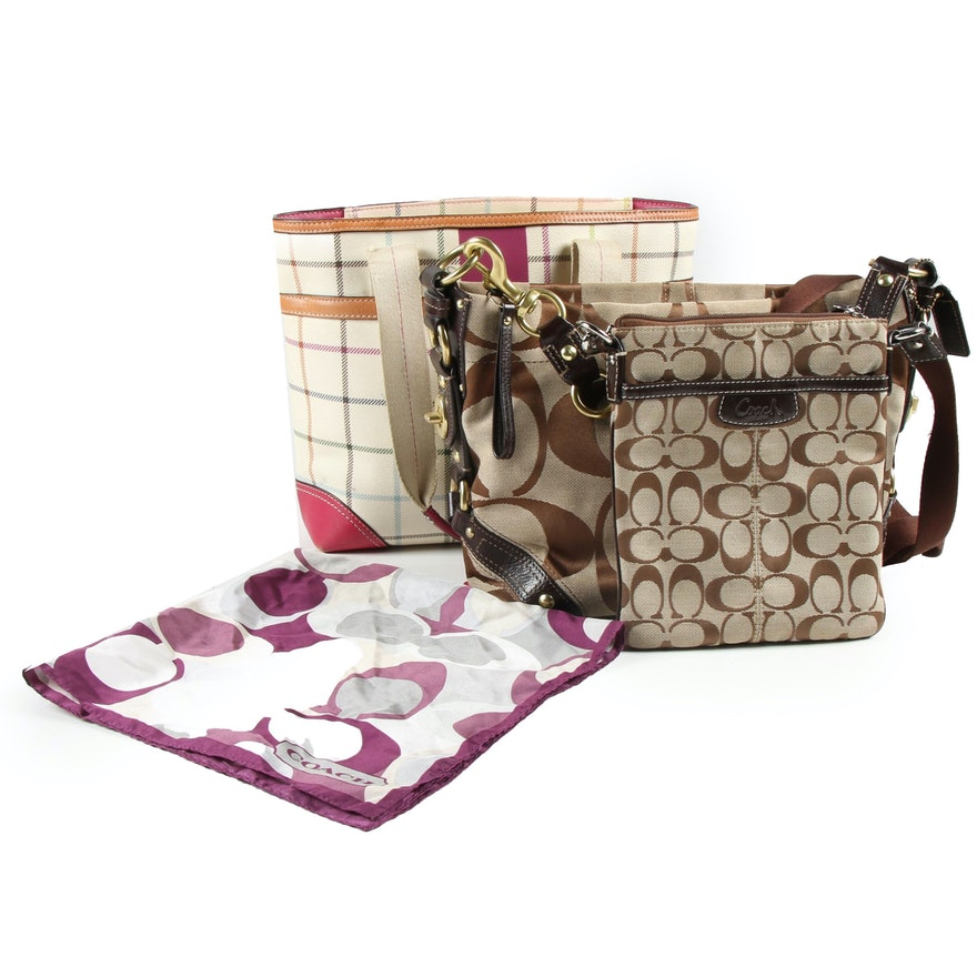 Coach Heritage Tattersall Tote, Carly Sac Shoulder Bag, Crossbody and Silk Scarf