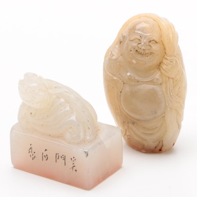 Chinese Carved Nephrite Jade Budai and Dragon Seals