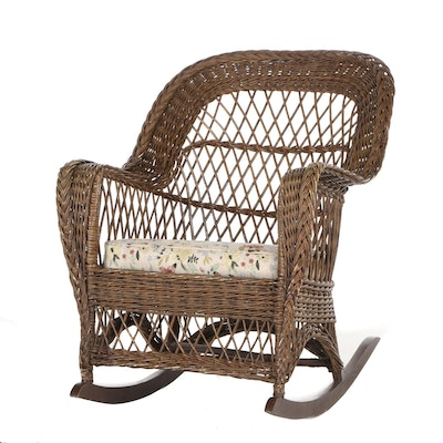Woven Wicker Rocking Chair with Seat Cushion, Contemporary