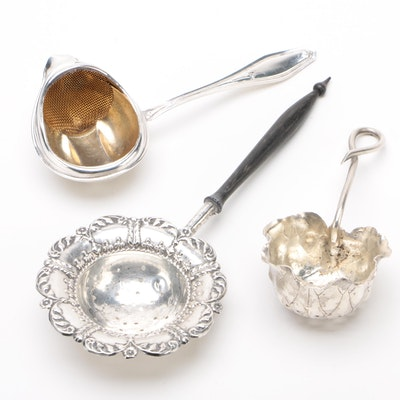 Sterling Silver Loose Tea Strainers, Early to Mid 20th Century