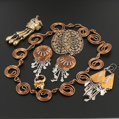 Openwork and Freeform Necklace, Earrings, Ring and 800 Silver Mask Brooch