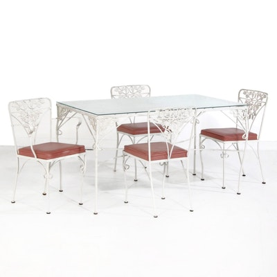 Metal Patio Dining Set with Grapevine Motif, Mid 20th Century
