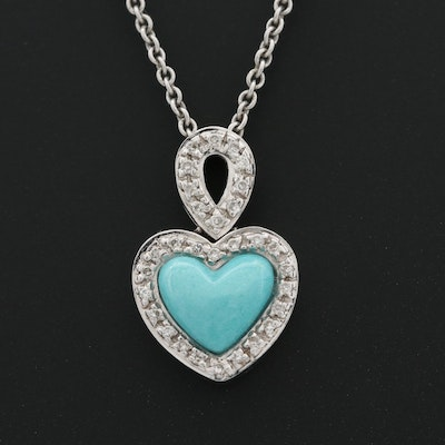18K White Gold Turquoise and Diamond Pendant on 14K Chain