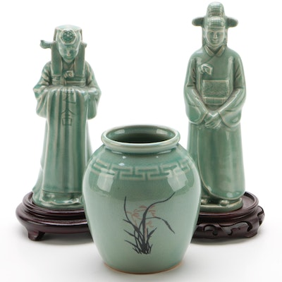 Korean Ceramic Figures in Traditional Dress and Vase