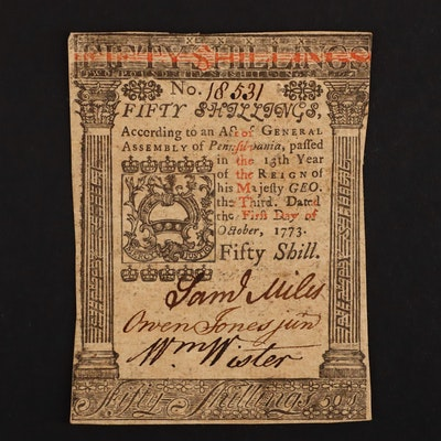 A 1773 Colonial Currency 50 Shilling Note Issued from Pennsylvania