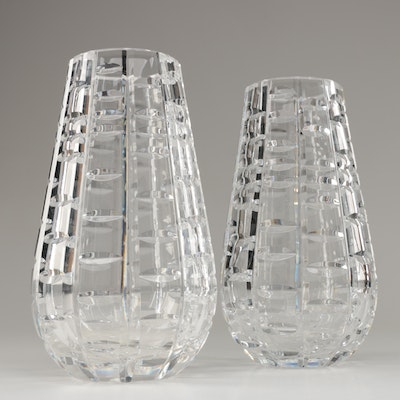 "Pair of Waterford Crystal ""Tralee"" Vases Designed by Miroslav Havel"