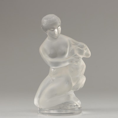 "Lalique ""Nude Diane with Ram"" Frosted Crystal Figurine, Mid-Century"