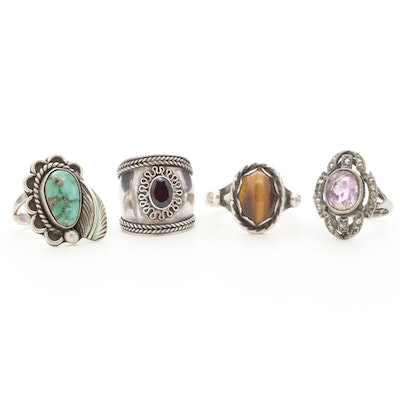 Sterling Tiger's Eye, Quartz, Turquoise and Garnet Inlcuding Southwestern