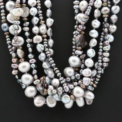 Sterling Silver Cultured Pearl Seven Strand Torsade Necklace