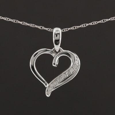 14K White Gold Diamond Heart Pendant Necklace