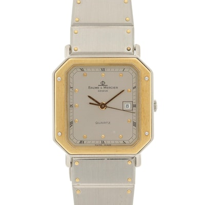 Baume & Mercier 18K Gold and Stainless Steel Wristwatch With Date