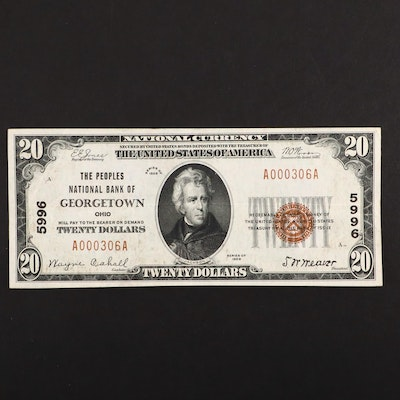 A Series of 1929 $20 Brown Seal National Currency Note From Georgetown, Ohio