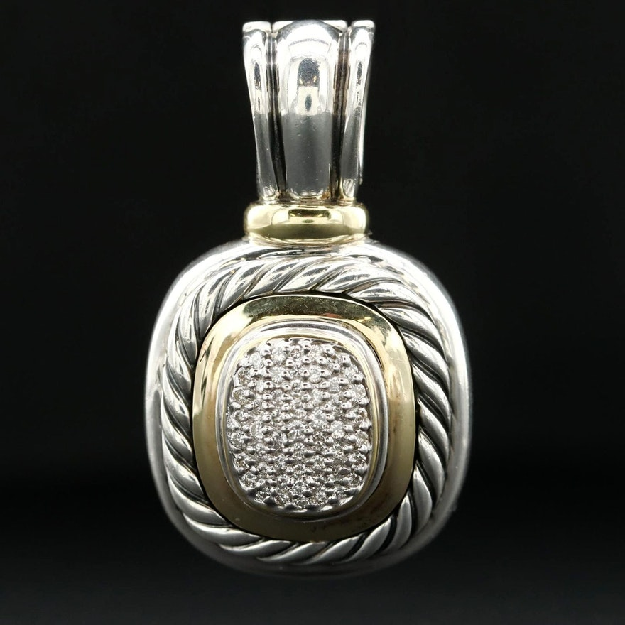 David Yurman Sterling Diamond Enhancer Pendant with 18K Yellow Gold Accents