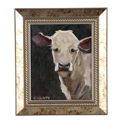 Jennifer Counts Oil Portrait of Cow