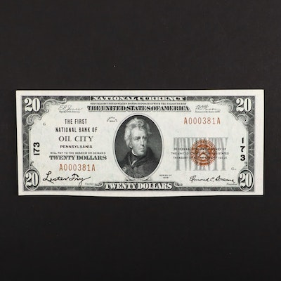 A Series of 1929 $20 Brown Seal National Currency Note from Oil City, PA