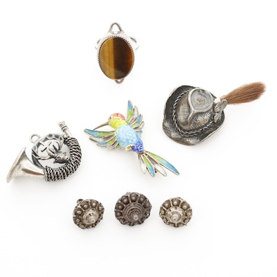 Sterling Charms, Pendants Including Tiger's Eye Ring and Humming Bird Brooch