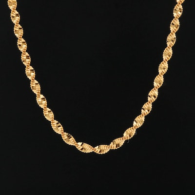 18K Yellow Gold Twisted Herringbone Necklace