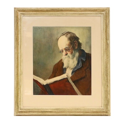 Henry Leopold Richter Portrait Watercolor Painting