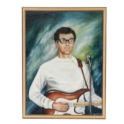 Joan Maxwell Portrait of Buddy Holly Oil Painting, 1986