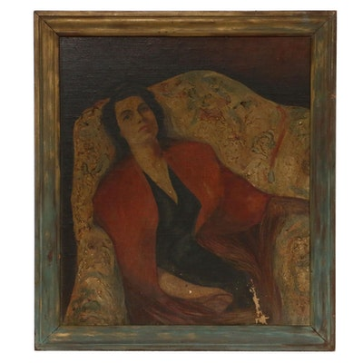 C. Christy Reclining Woman Portrait Oil Painting, 1939