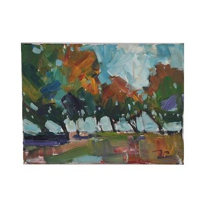"""Jose Trujillo Oil Painting """"Family Park"""""""