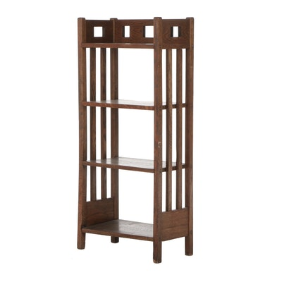 Mission Style Oak Shelving Unit, Contemporary