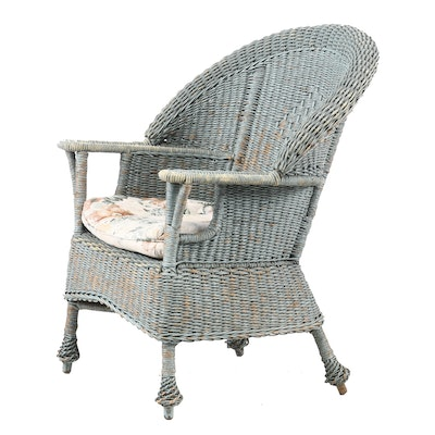 Painted Woven Wicker Patio Arm Chair with Cushion, Early 20th Century