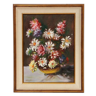 P. J. Bicknell Floral Still Life Oil Painting