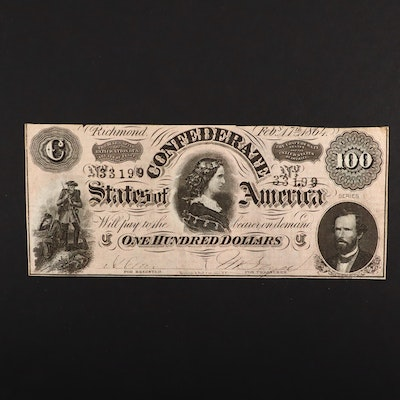 An 1864 $100 Confederate States of America Obsolete Banknote