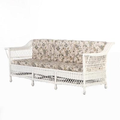 Martino Willow Furniture Woven Wicker Patio Sofa, Mid-20th Century