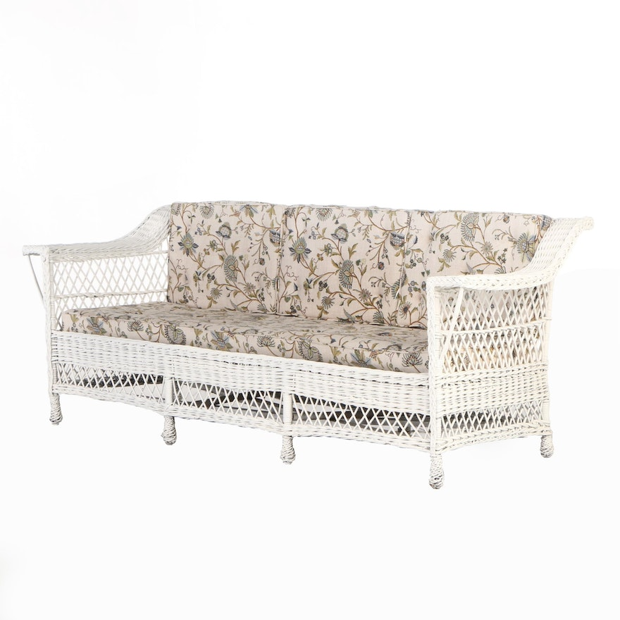 Martino Willow Furniture Woven Wicker Patio Sofa, Mid-20th Century