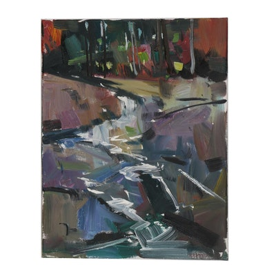 "Jose Trujillo Oil Painting ""Rushing River"""