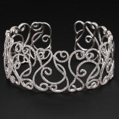 14K White Gold 3.44 CTW Diamond Cuff Bracelet