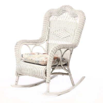 Painted Woven Wicker Rocking Chair, Mid-20th Century