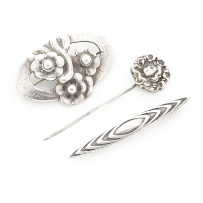 Art Nouveau Sterling Pin and Brooches Featuring Codding Brothers & Heilbron
