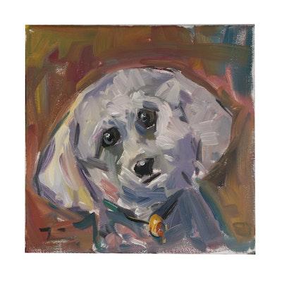 "Jose Trujillo Oil Painting ""Furry Friend"""