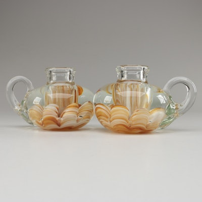 Pair of Joe St. Clair Art Glass Candlestick Paperweights, Late 20th Century
