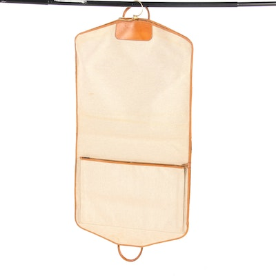 Hermès Garment Bag in Toile Canvas and Vache Leather with Wood Hanger, Vintage