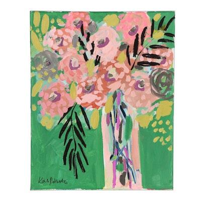 "Kait Roberts Acrylic Painting ""Still Life in Jade"""