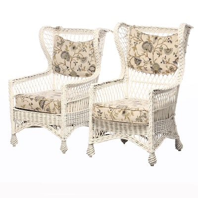 Painted Wicker Wing Back Patio Arm Chairs, Mid-20th Century