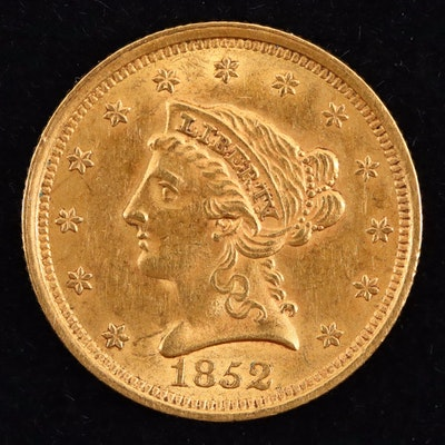 An 1852 Liberty Head $2.50 Gold Quarter Eagle