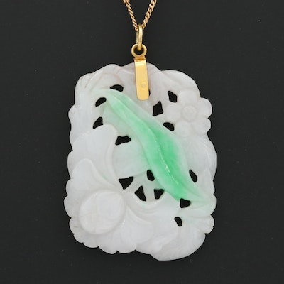 18K Yellow Gold Jadeite Pendant on 14K Chain Necklace