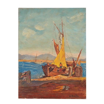 Xavier J. Barile Oil Painting of a Boat at Dock
