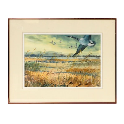 Nancy S. Heiskell Landscape with Geese Watercolor Painting