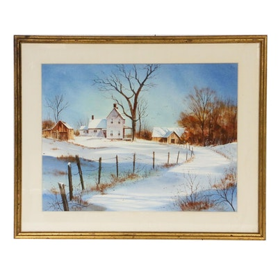 Allen Ulmer Winter Farmhouse Landscape Watercolor Painting