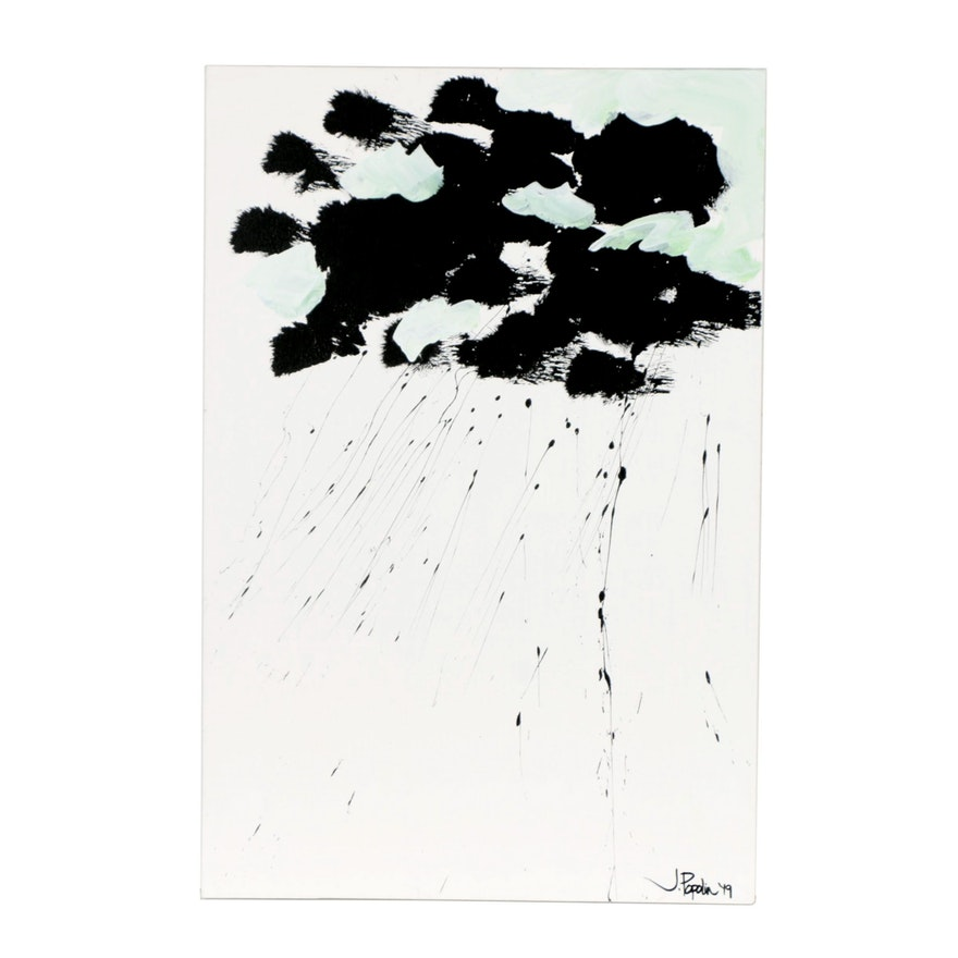 "J. Popolin Acrylic Painting ""Thunderstorm 2"""